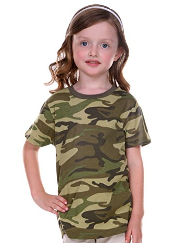 Toddler Girls Camouflage Shirt - Kavio! Toddlers Camouflage Crew Neck Short Sleeve Tee Camo Army Green 5T