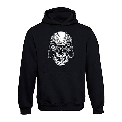 Skull Gamer Cappuccio Unisex Wallshirt Nero Felpa ARjL35q4