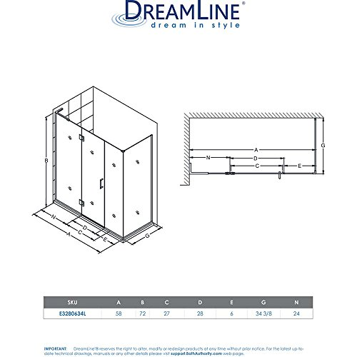 """DreamLine Unidoor-X 34 3/8 in. D x 58 in. W, Frameless Hinged Shower Enclosure, 3/8"""" Glass, Brushed Nickel Finish best"""