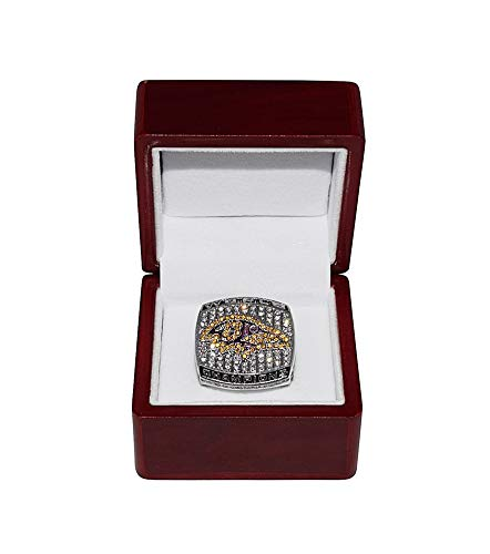 Baltimore Ravens 2000 Super Bowl - BALTIMORE RAVENS (Ray Lewis) 2000 SUPER BOWL XXXV WORLD CHAMPIONS Vintage Rare Collectible High-Quality Replica Silver Football Championship Ring with Cherrywood Display Box