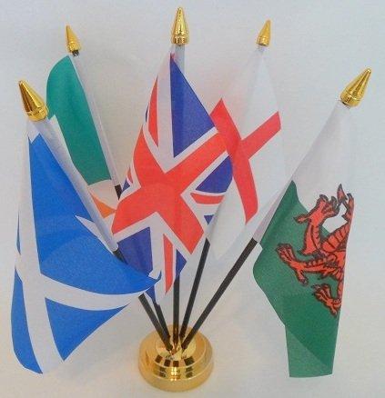 Bandiera Union Jack Regno Unito Inghilterra Scozia Irlanda Galles 5 centro tavola desktop display con base dorata