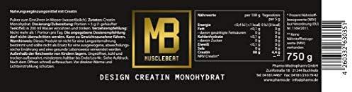 Musclebeat Creatin Monohydrat Pulver zum Muskelaufbau - Aminosäuren Pulver zur Unterstützung im Kraftsport & Bodybuilding - Vegan & Vegetarisch - 750g Ultrapure Kreatin wasserlöslich