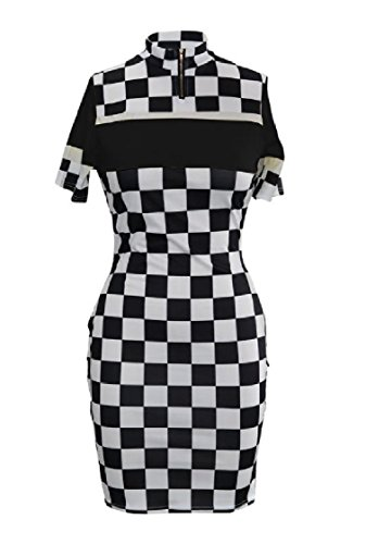 Fit Women Checkerboard Printed Silm Zipper Splicing Dress Black Coolred Evening FvP7WTqFn