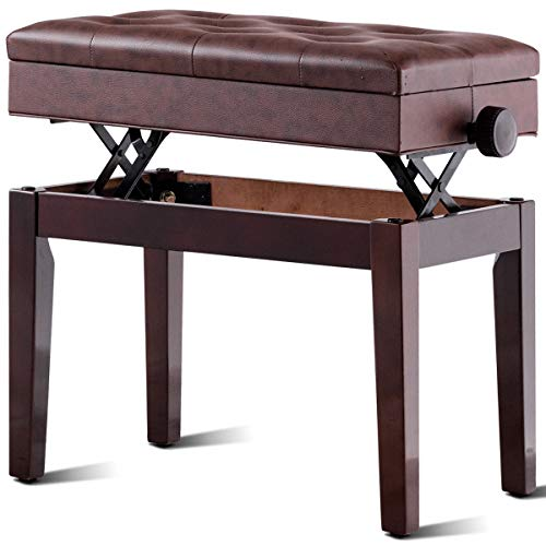 Giantex Adjustable Wooden Piano Bench with Music Storage and Padded Cushion, PU Leather Comfortable Keyboard Stool with Anti-Slip Pad, Piano Stool with Adjustable Height (Brown)