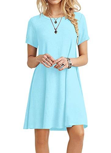 POPYOUNG Women's Summer Casual T-Shirt Dresses Beach Dress Small, Sky Blue