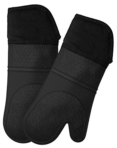 Silicone Oven Mitts with Quilted Cotton Lining - Professional Heat Resistant...