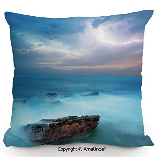 SCOXIXI Personality Customization Pillow Tropic Sea with Rocks and Storm Flash in The Air Tranquil But Dangerous Epic Scenery,W18xL18 Inches