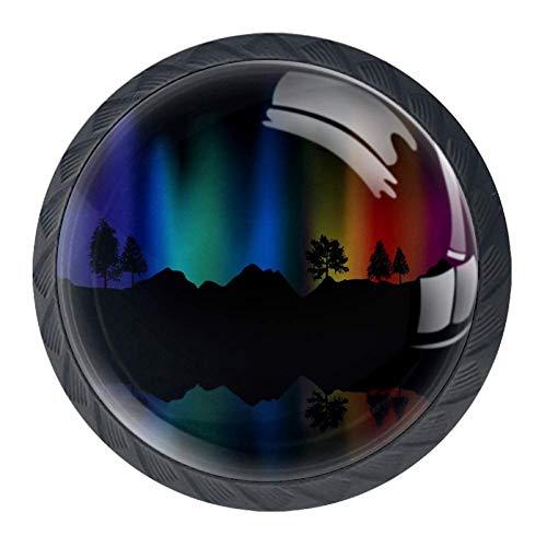 Idealiy Rainbow Northern Lights Landscape Cabinet Door Knobs Handles Pulls Cupboard Handles Drawer Wardrobe 4pcs