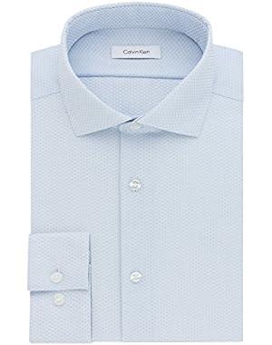 Calvin Klein Men's Non Iron Slim Fit Graphic Check Spread Collar Dress Shirt
