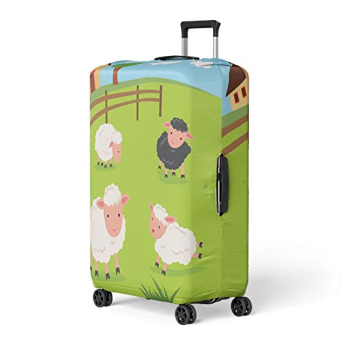 Pinbeam Luggage Cover Green Lamb Farm Sheep and Farmhouse Barnyard Baby Travel Suitcase Cover Protector Baggage Case Fits 22-24 inches