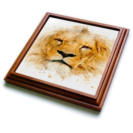 3dRose Anne Marie Baugh - Impressionist Mixed Media Art - Image Of Watercolor Lion Face Art - 8x8 Trivet with 6x6 ceramic tile (trv_318684_1)