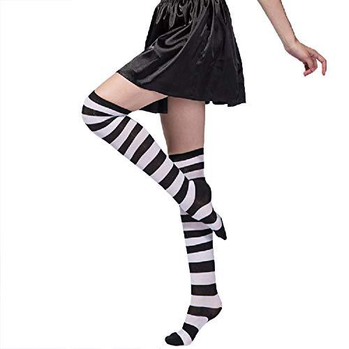 Womens Girls Long Striped Over Knee Thigh High Socks Fun Cute Crazy School Party Cosplay Custume Cotton Stockings, White+Black Stripe ()