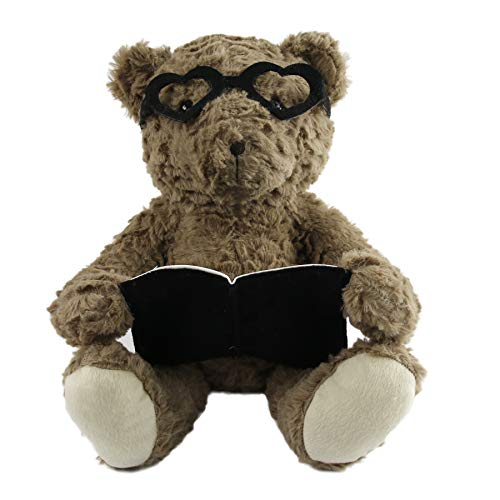 - Houwsbaby Storytime Teddy Bear with Glasses Stuffed Animal Soft Plush Toys Reading Books Soothe Baby Gift for Toddlers Mother's Day, 12'', Brown