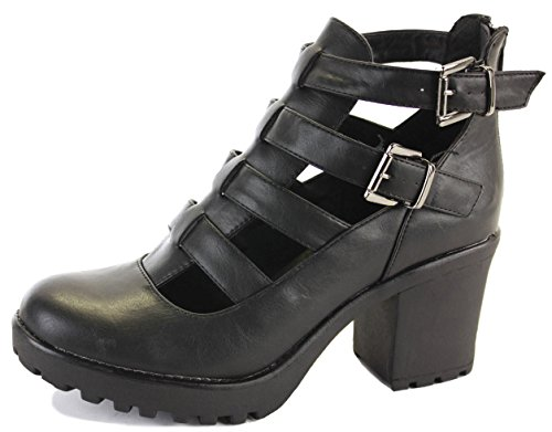 WOMENS LADIES CUBAN WESTERN MID HIGH HEEL BOOTIES HEELED BLOCK COWBOY WINTER ANKLE BOOTS SIZE 3-8 Style 27 - Black