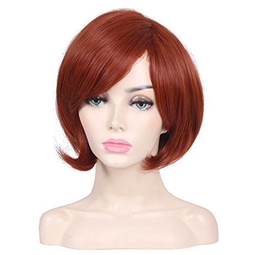 ColorGround Short Reddish Brown Prestyled Cosplay Wig for Women -