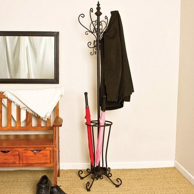 Southern Enterprises Metal Scroll Hall Tree in Painted Black Finish