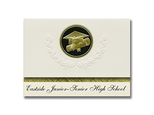 Signature Announcements Eastside Junior-Senior High School (Butler, IN) Graduation Announcements, Presidential style, Elite package of 25 Cap & Diploma Seal. Black & Gold.