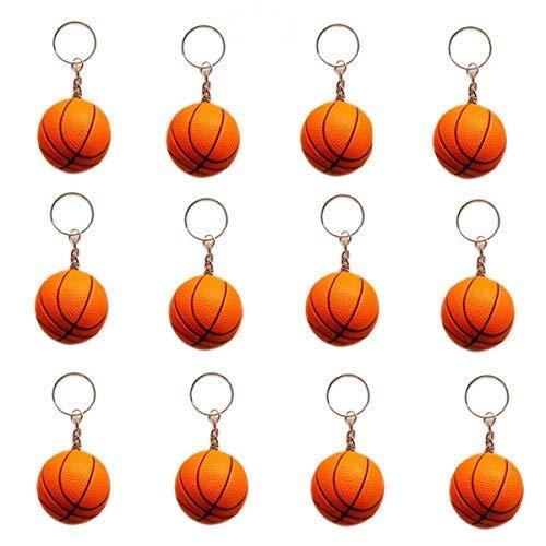 OKOK 12 Pack Orange Basketball Keychains for Kids Party Favors, School Carnival Prizes, Sport Stress Ball ()