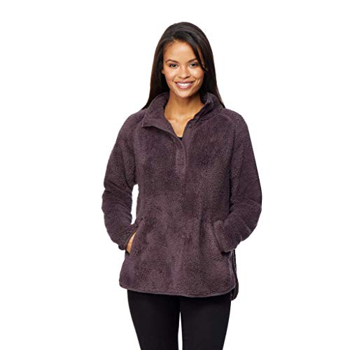 - 32 DEGREES Womens Faux Fur Half Snap Pull Over Top, Eggplant, Large