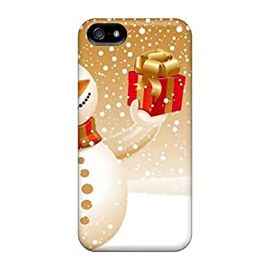 phone covers Tpu Case Cover For iPhone 5c Strong Protect Case - Funny Snowman With A Gift Design
