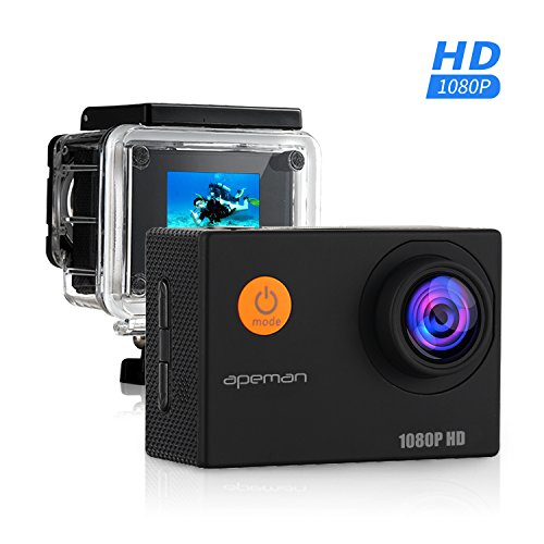 APEMAN Action Camera, 12 MP Full HD 1080P Waterproof Sports Cam with 170 Wide-Angle Lens and Rechargeable Battery, Including Waterproof Case and Portable Package