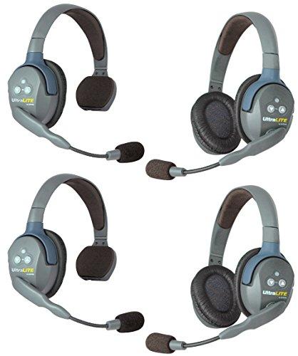 Eartec UL422 UltraLITE Full Duplex Wireless Intercom 2 Way Communication System - 1 ULSM Single-Ear Master Headset, 1 ULSR Single Ear Remote Headset and 2-Pack of ULDR Dual-Ear Remote Headsets from Eartec
