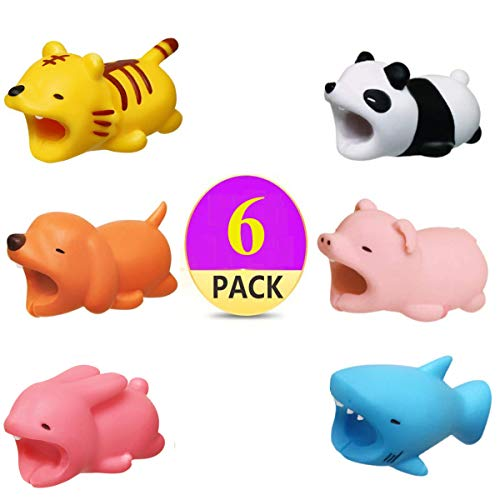 SinoZeal Cable Animal Bite Protector Compatible iPhone Cable Charging Cord Saver, Cute Creature Bites Cables Charger Protector Accessory (Pack of 6)