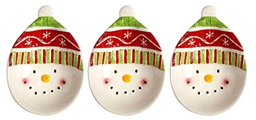 stmas Holiday Red Hat Snowman Appetizer Tidbit Bowls, Set of 3 ()