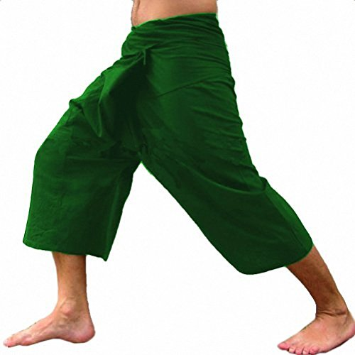 thai-fisherman-pants-yoga-massage-pregnancy-trousers-pants-3-4-pants-green