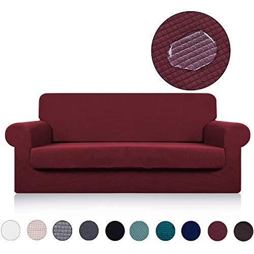 Sofa Cover with Separate Seat Cushion Cover(2 Pieces Set) - Water Repellent,Knitted Jacquard,High Stretch - Living Room Couch Slipcover/Protector/Shield for Dog Cat Pets(3 Seater Sofa,Burgundy Red)