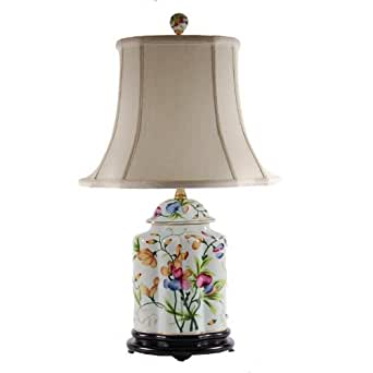 Oval Pretty Floral Bedside Porcelain Table Lamp