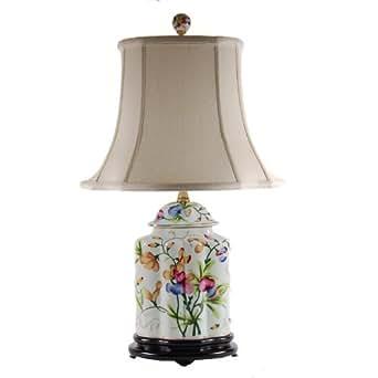 Oval Pretty Floral Bedside Porcelain Table Lamp