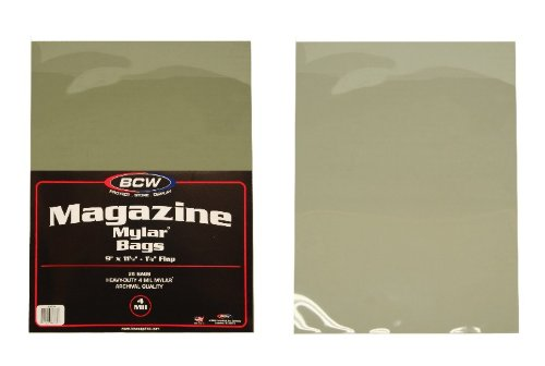 (250) Magazine Size Mylar Sleeves - 4 Mil Thick - BCW