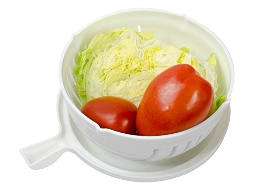 Salad Express - Salad Cutter Bowl White, Vegetable Chopper Bowl - 60 Seconds Salad Cutter Bowl As Seen On TV, Cutting Board - Free