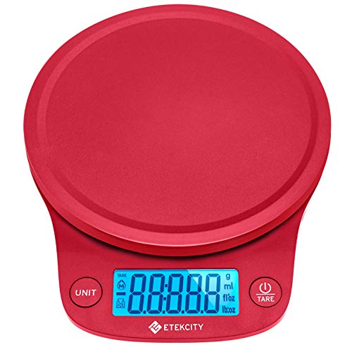Etekcity 0.1g Food Kitchen Scale, Digital Grams and Oz for Cooking, Baking, and Weight Loss, Christmas Gift for Holiday Meal Prep, Large, Red-Decimal Increments
