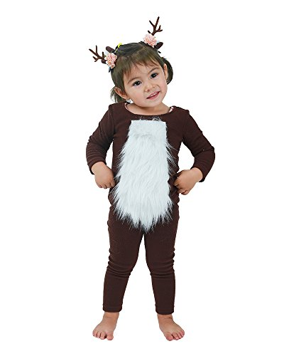 Coskidz Child Deer Halloween Cosplay Costume Including Horn Hair Pieces (Brown)