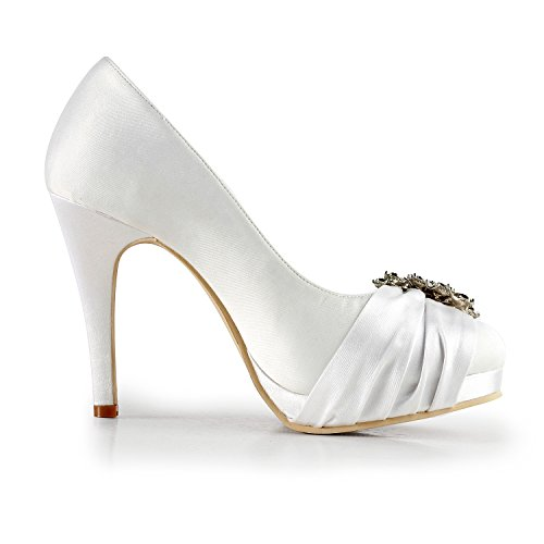 Minitoo Women's Shoes Heel Wedding Satin Ivory Party Applique TMZ362 Pumps 10cm Bridal Formal Evening 6Zxq6F5