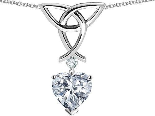 14k Heart Shape Slide (Star K Love Knot Pendant Necklace with 8mm Heart Shape White Topaz Sterling Silver)