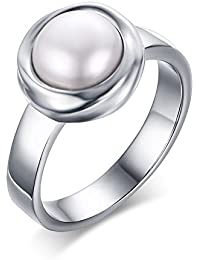 Womens Stainless Steel Round Mother of Pearl Inlay Wedding Engagement Bezel Band Ring