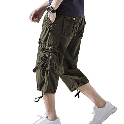 DONGD Mens Cargo Shorts Cotton 3/4 Loose Fit Below Knee Capri Cargo Short Army Green, 38