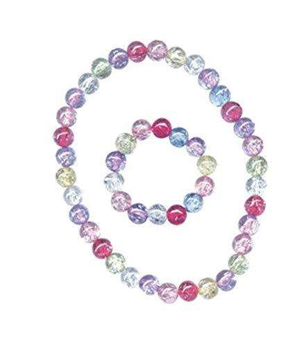 Pecoware / Stretchy Beaded Necklace & Bracelet Set, Pastel - Beaded Necklace Pastel