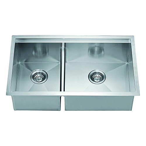 Satin Polished Double Bowl - Dawn DSQ301515 Undermount Double Bowl Square Sink, Polished Satin