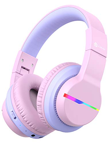 iClever BTH12 Kids Headphones, Colorful LED Lights Kids Bluetooth Headphones with 74/85/94dB Volume Limited Over Ear, 40H Playtime, Bluetooth 5.0, Built-in Mic for School/Tablet/PC/Airplane, Pink