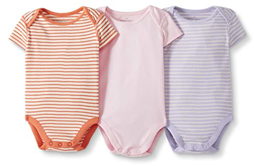 Moon and Back by Hanna Andersson Baby 3-Pack Organic Cotton Short Sleeve Bodysuit, Pink, 0-3 months from Moon and Back by Hanna Andersson