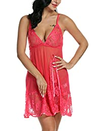 Avidlove Women Lingerie Strap Babydoll Polyeater Teddy Patchwork Nightwear