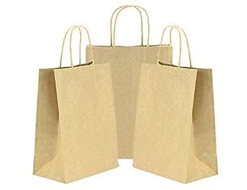 FiveSeasonStuff 24 Piezas pequeñas Marrón Bolsas de Papel Kraft con mangos retorcidos reforzados para regalos de boda, duchas de bebés, proyectos de ...
