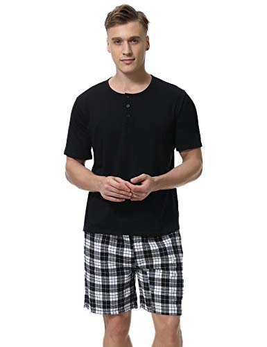Aibrou Men's Cotton Pajamas Set Short Sleeve Shorts & Shirt Sleepwear Lounge ()