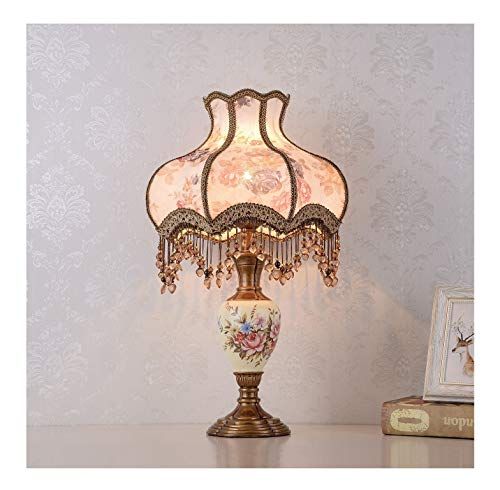 WFTD European Style Table Lamp 13 Inches Fabric Bedside Lamps with Crystal Pendant Princess Victorian Style Hand Painted Resin Body Desk Lamp (Lamp Victorian)