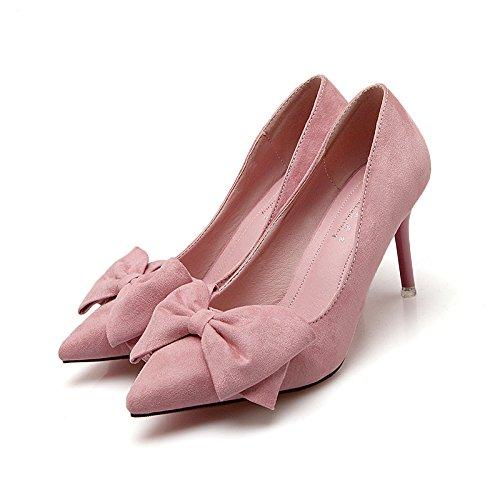 raso versatile scarpe con 5cm 5 40 scarpe del Bow fine pattini i donna con tacco con bassa Tie e rosa alto di filtro cingolo Il a centimetri 1q8RYw