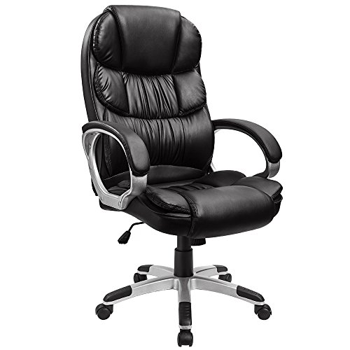 Furmax High Back Office Chair PU Leather Executive Desk Chair with Padded Armrests,Adjustable Ergonomic Swivel Task Chair with Lumbar Support(Black) (Swivel Desk Chair Leather)